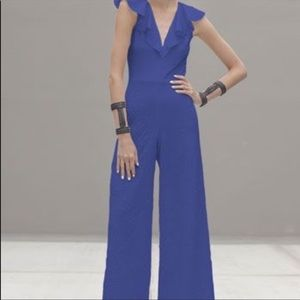 Alexis Harvey blue jumpsuit Small wide leg Ruffle